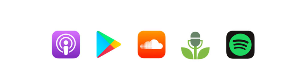 podcast icons in a row with a white background