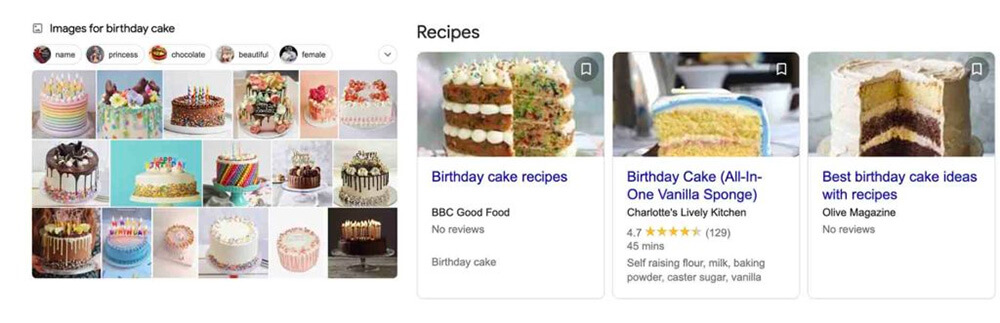 Birthday cake search results
