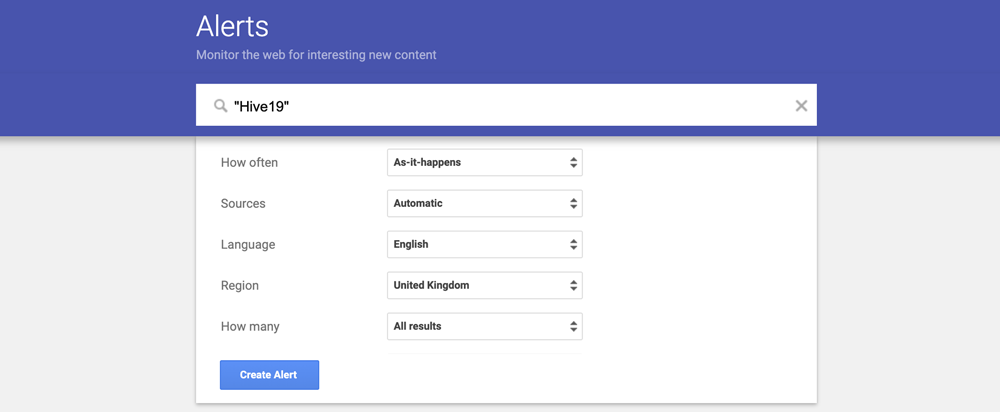 Using Google Alerts for brand mentions