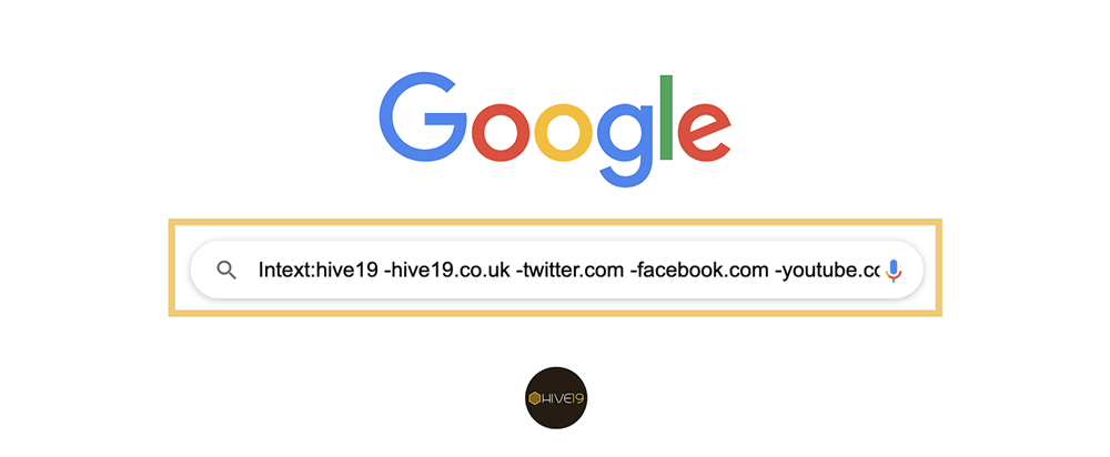 Using Google for intext social unlinked brand mentions search.