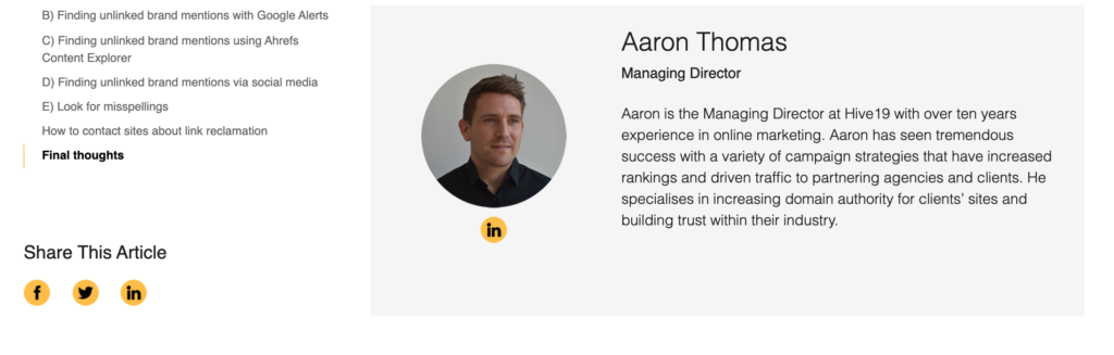 Author bio, aaron thomas, MD at Hive19